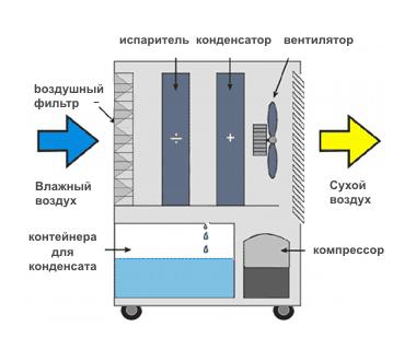 Принцип действия бытового осушителя воздуха